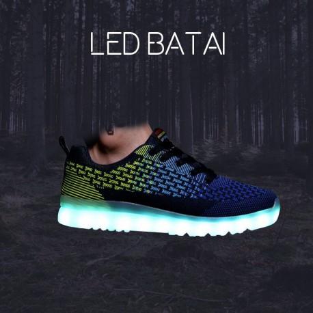Tamsiai mėlyni/žalsvi LED batai