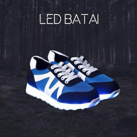 Mėlyni LED batai su baltomis juostelėmis