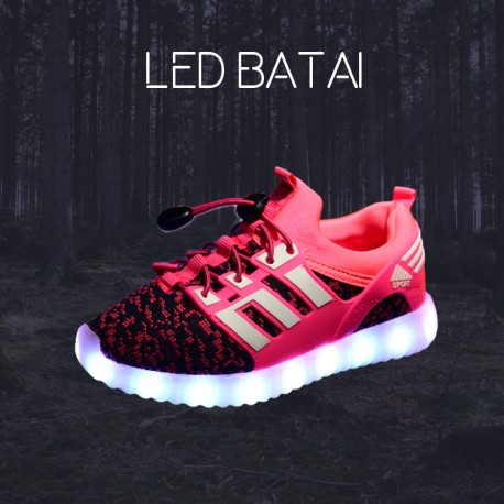 Rožiniai LED batai su juostelėmis