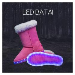 Žieminiai rožiniai LED batai