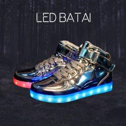 Blizgantys sidabrinės spalvos LED batai high-top
