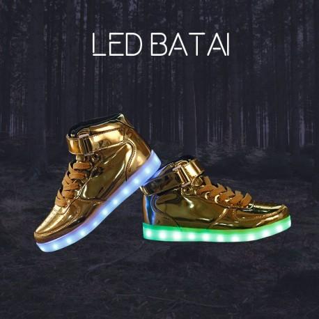 Blizgantys auksinės spalvos LED batai high-top